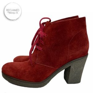 SAX Made in Italy Maroon Suede Heeled Ankle Boots